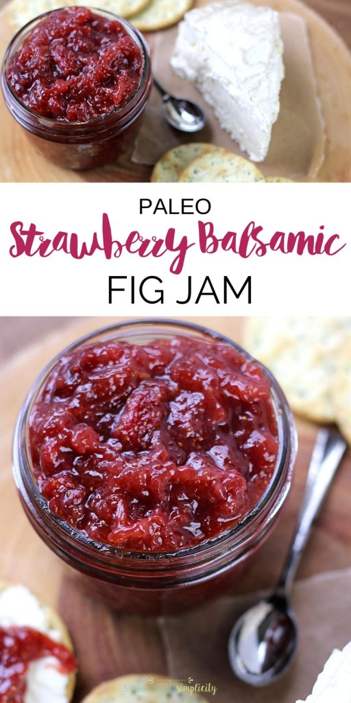 The perfect combination of savory and sweet, paleo strawberry balsamic fig jam! With no refined sugars it's paleo friendly and totally delicious! #paleojam #paleorecipe