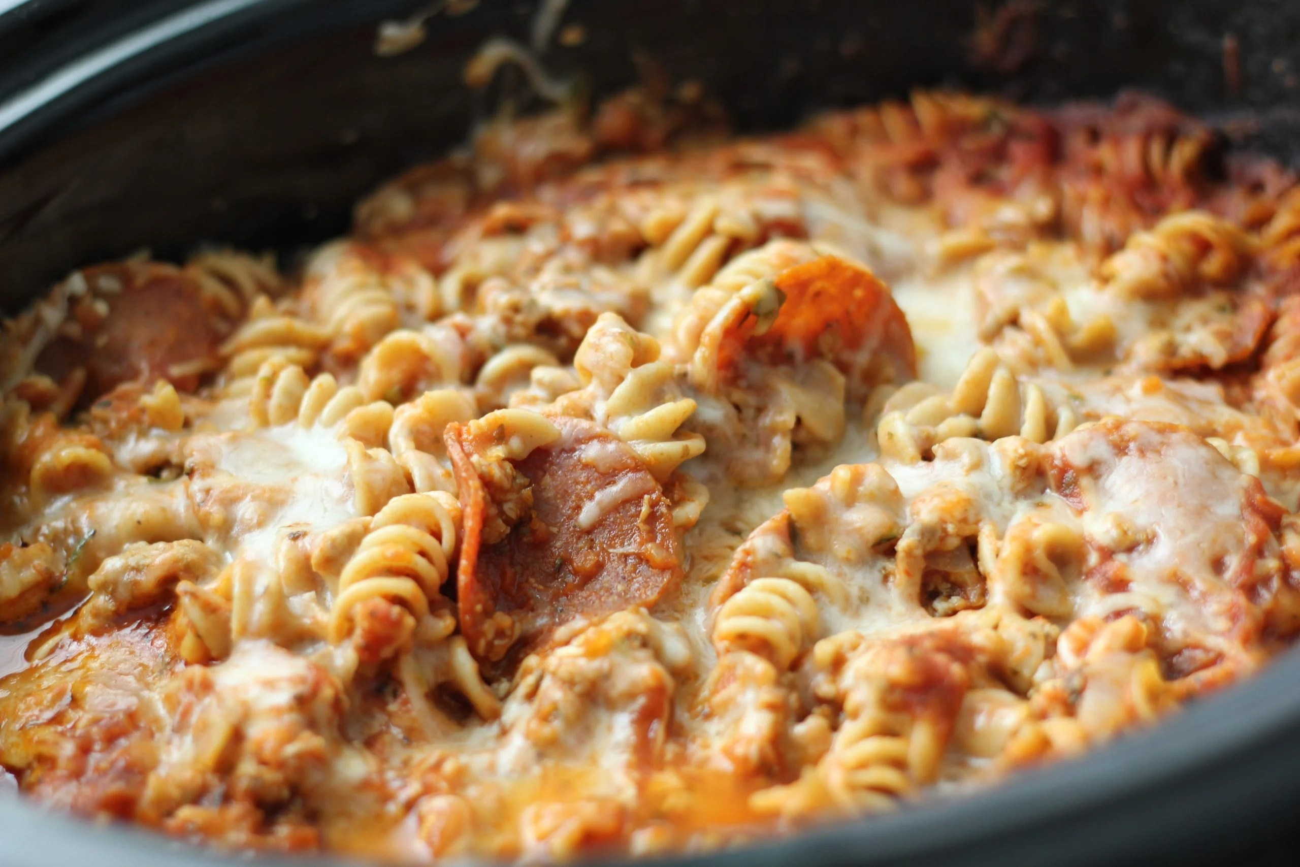 Crockpot Pizza Casserole in the slow cooker