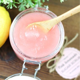 Homemade Pink Lemonade Sugar Scrub is an easy DIY to pamper yourself or give as a lovely gift. It's all natural and smells wonderful!