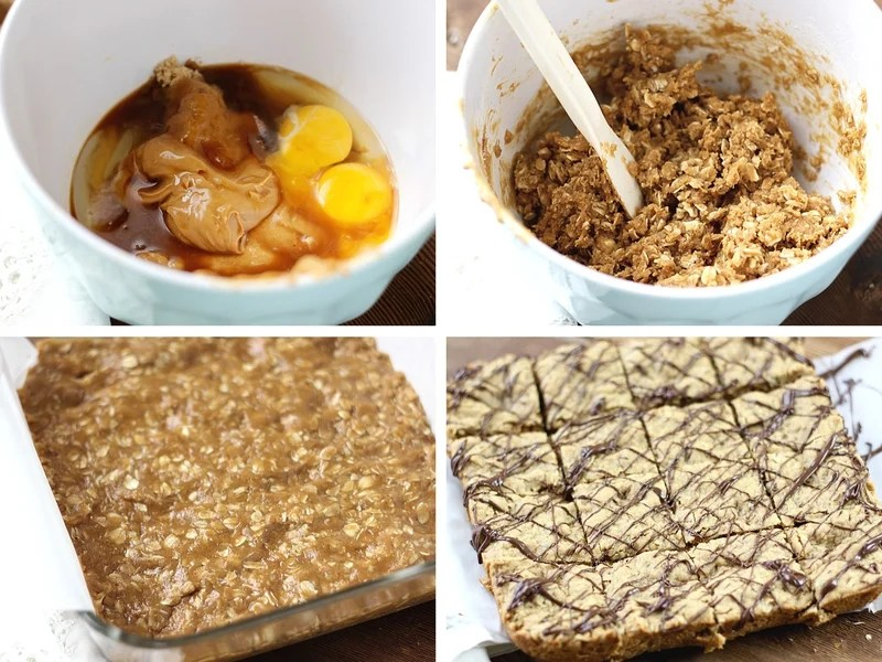 The process for making peanut butter oatmeal squares starting with the wet ingredients and then adding the dry and pressing the batter into a baking pan.