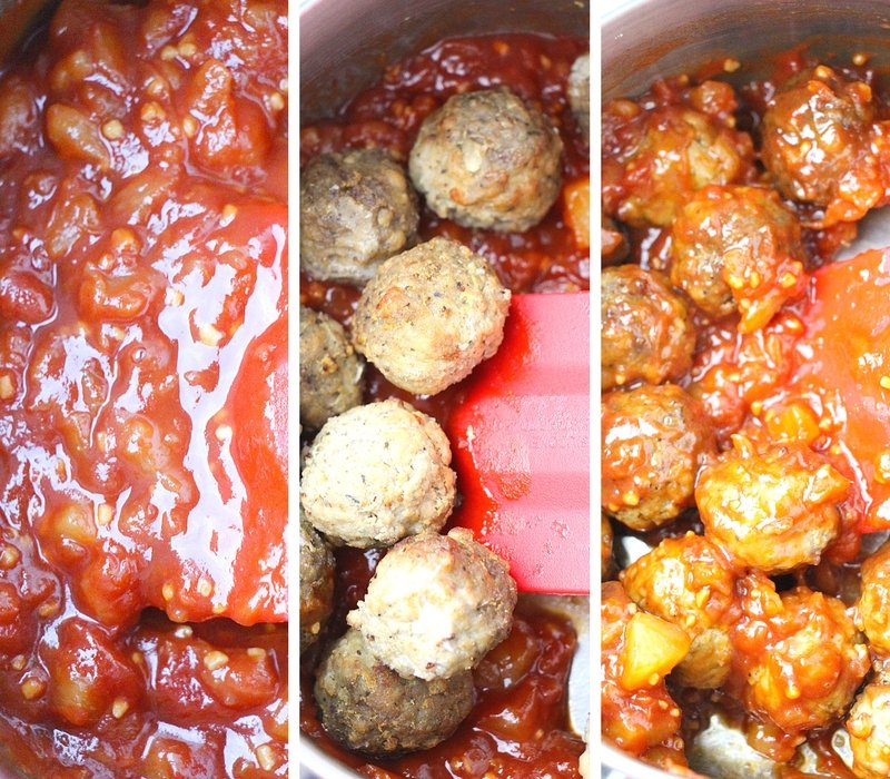 Process to make pineapple meatball skewers in pictures.