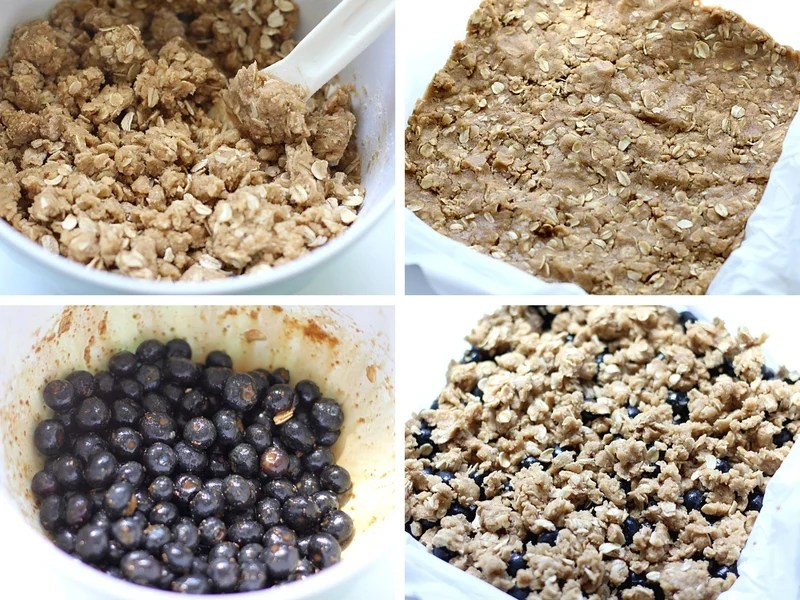 The process for making blueberry oatmeal bars. The blueberries, dry mixture and the batter in the pan.