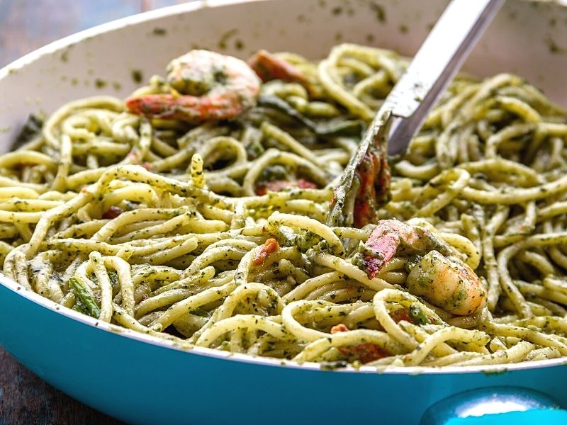 Pesto Shrimp pasta in a bowl