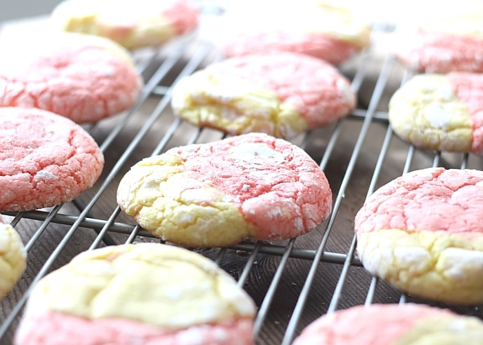 Strawberry Lemon Cookies on a cooling rack