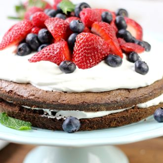 Brownie Strawberry Shortcake on a cake stand.
