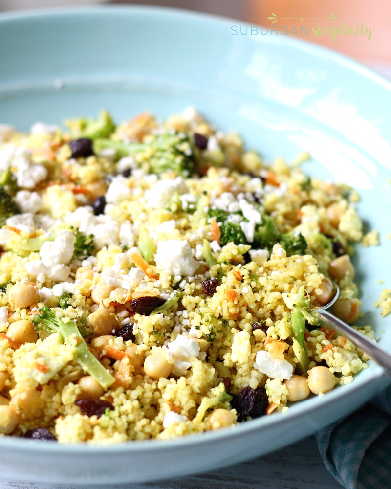 15-Minute Mediterranean Curried Couscous Salad with Broccoli, Chickpeas, and Feta is an easy vegetarian dish that's packed with flavor and texture. You can't go wrong with this dinner or side dish recipe!