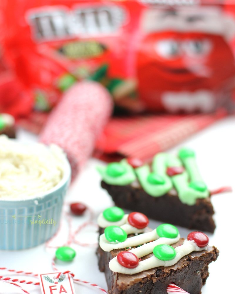 Brownie Christmas Trees next to a dish of frosting