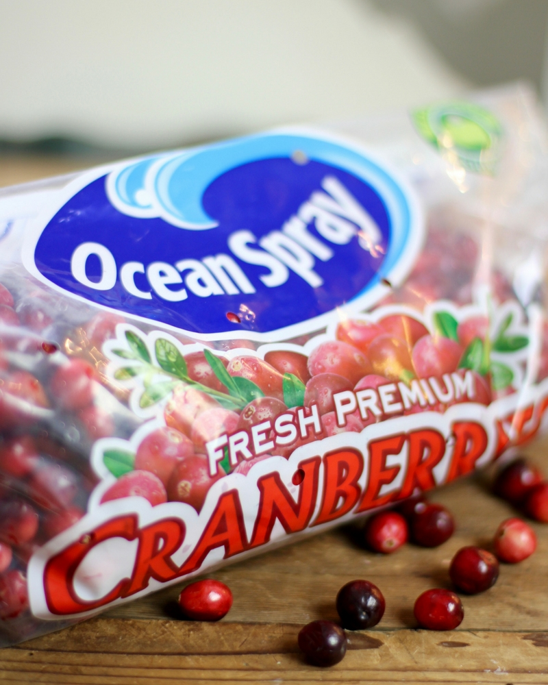 A close up of a package of fresh Cranberries