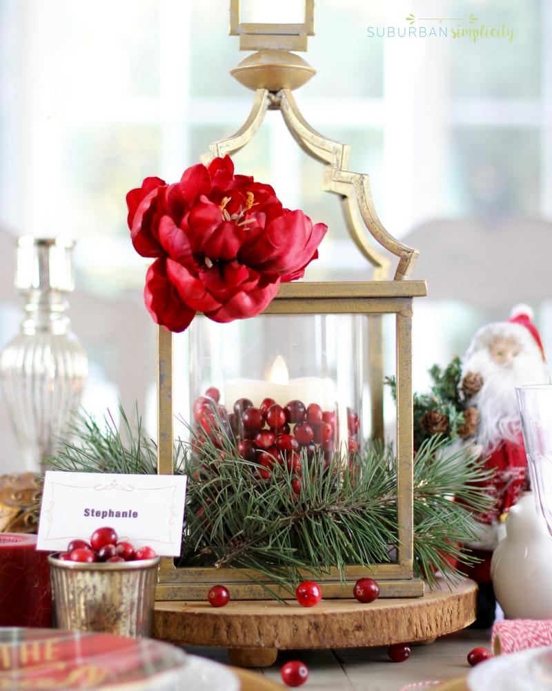 A Christmas centerpiece on a table