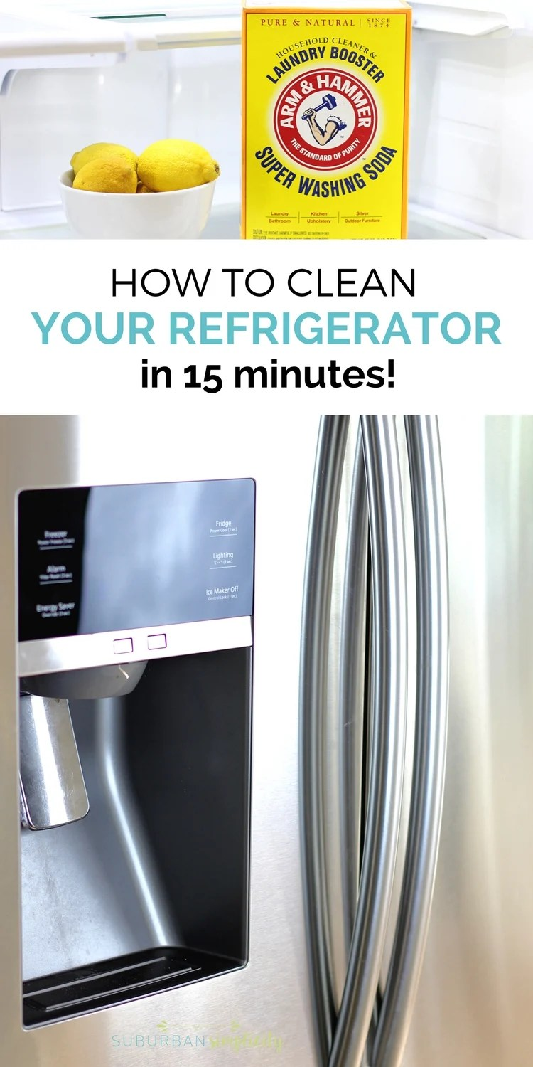 Come learn the secrets for how to clean your refrigerator in 15 minutes! This much used appliance needs a good cleaning and these tips will help you make it happen in no time! #ad #cleaningtips #SuperWashingSoda