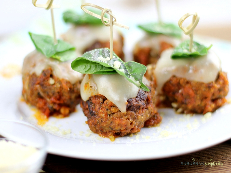 Meatball Parmesan Bites on a plate ready to serve.