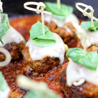 Meatball Parmesan Bites are the perfect appetizer for any occasion.  Tender meatballs, infused with garlic, breadcrumbs, and parmesan, smothered in Italian red sauce and topped with melted mozzarella and fresh basil.