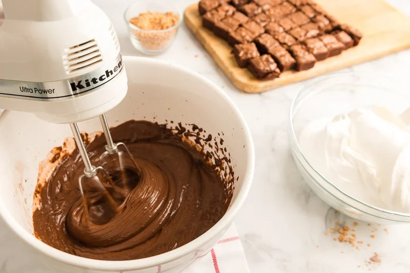 chocolate pudding being made