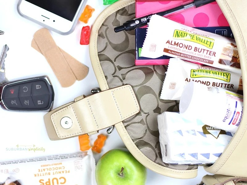 Purse with grab and go essentials for families inside.