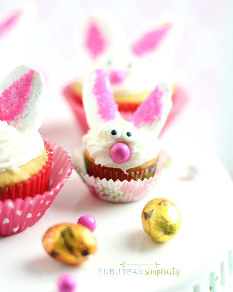 Mini bunny cupcake with marshmallow ears.