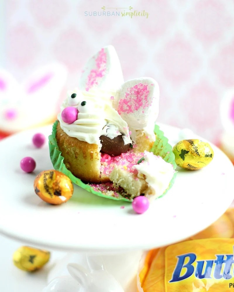 Cute Bunny cupcakes opened up so you can see the surprise inside.