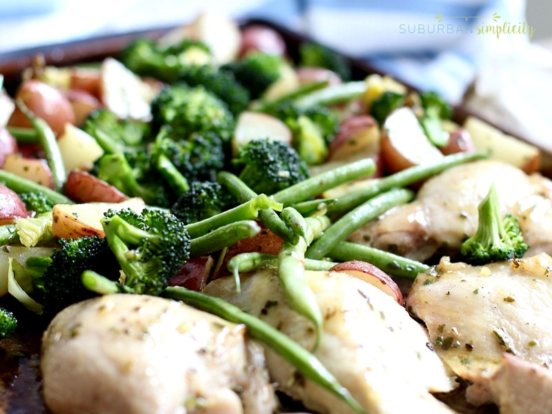 One pan chicken and veggies in a pan.
