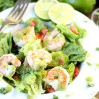 A delicious shrimp salad with avocado cilantro lime dressing.