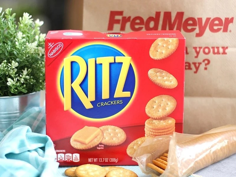 Ritz Cracker with a Fred Meyer bag in the background.