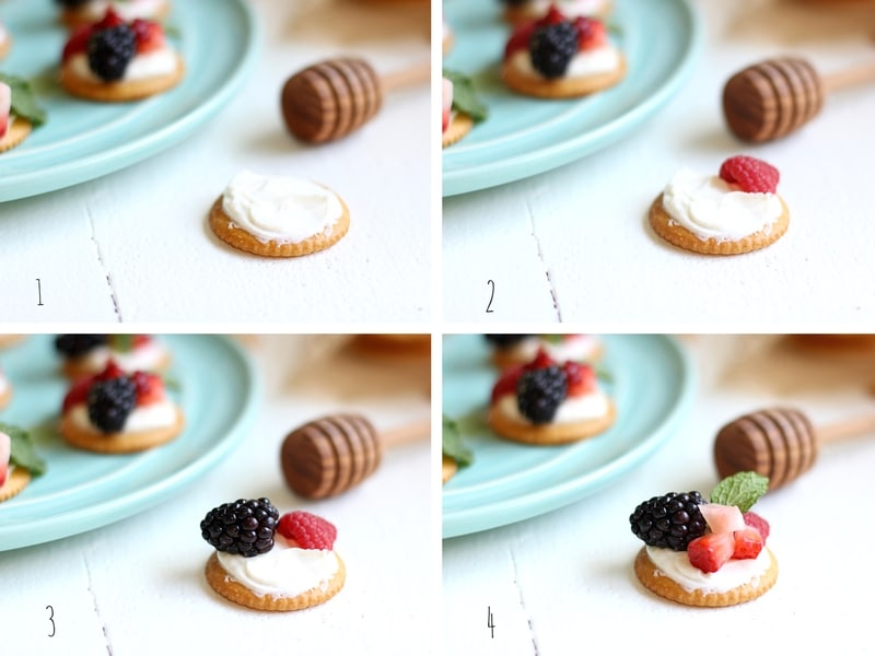 The process for making berries and cream ritz cracker toppers.