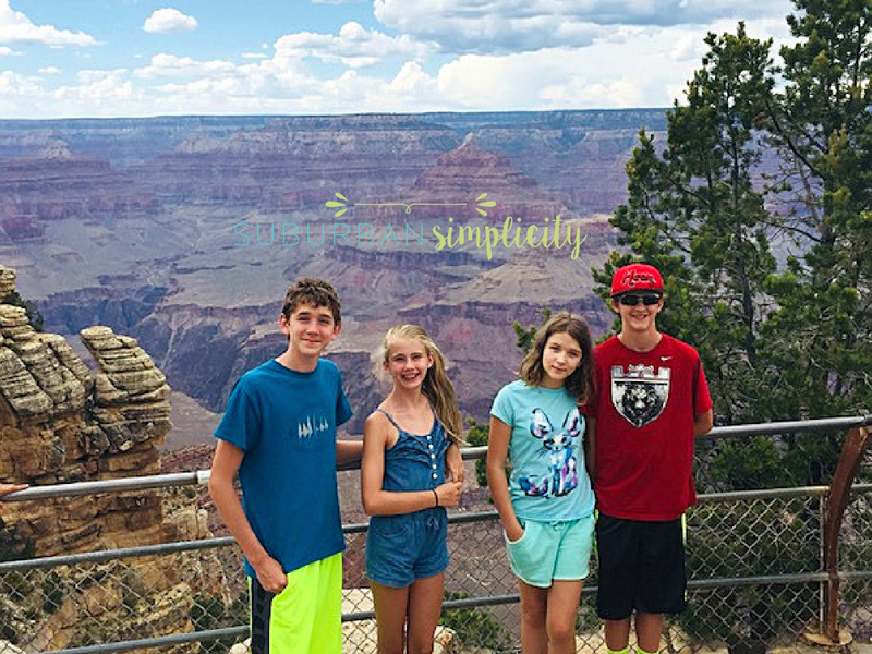 Kids stranding on the edge of the grand canyon