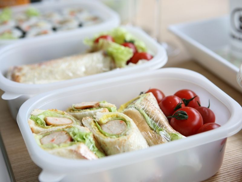lunch wraps in plastic ware