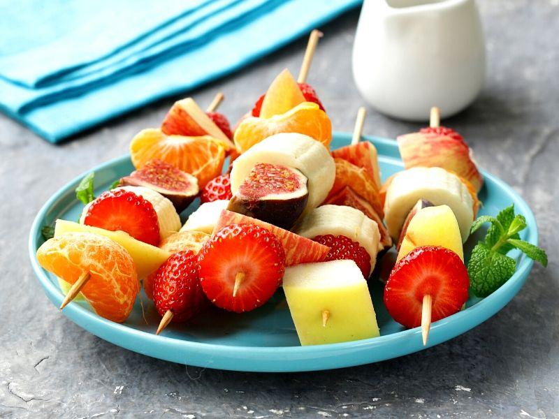 Fruit skewers on a plate