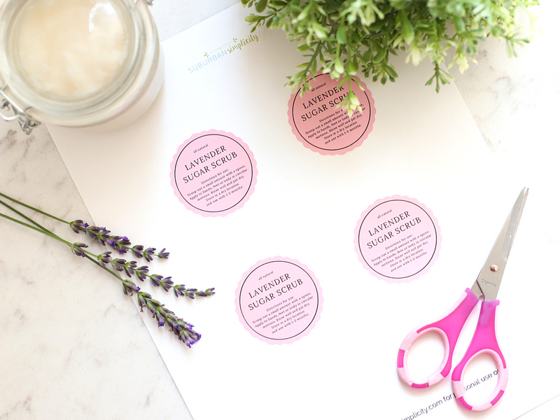 Free printable tags for sugar scrub