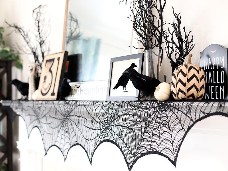Halloween themed mantel