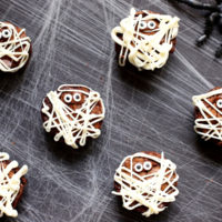 Mummy Brownies on a spider web.