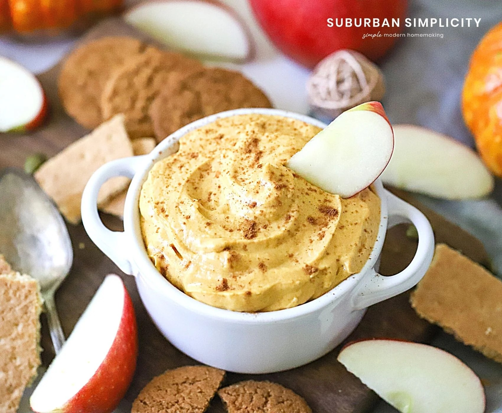 Healthy Pumpkin Dip in a bowl with apples