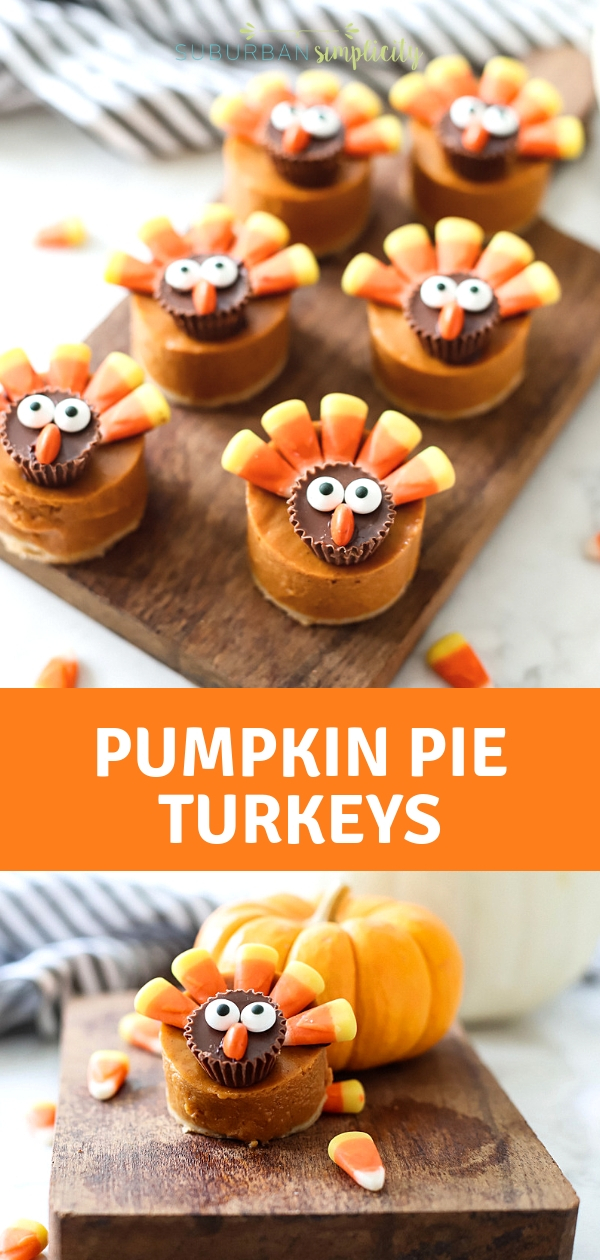 Here's the cutest Thanksgiving dessert!  Pumpkin Pie Turkeys! Easy to make and easy to eat!  Kids and grown ups love this pumpkin pie treat! #suburbansimplicity #thankgiving #thanksgivingdesserts #thanksgivingrecipes #pumpkinpie #treats