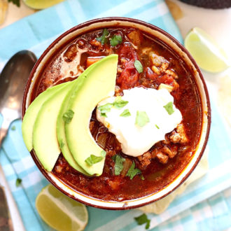Grab your slow cooker and let's make this easy Healthy Crock Pot Taco Soup.  It's  packed with tons of veggies and robust flavor!