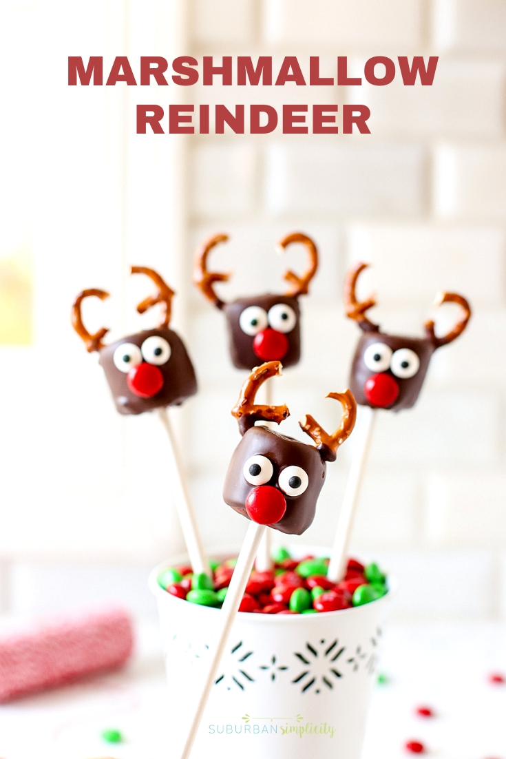 These Chocolate Covered Marshmallow Reindeer are the cutest Christmas treat! Easy to make and a merry addition to any party or playdate! #suburbansimplicity #christmas #holiday #treats #dessert #reindeer #christmasrecipes