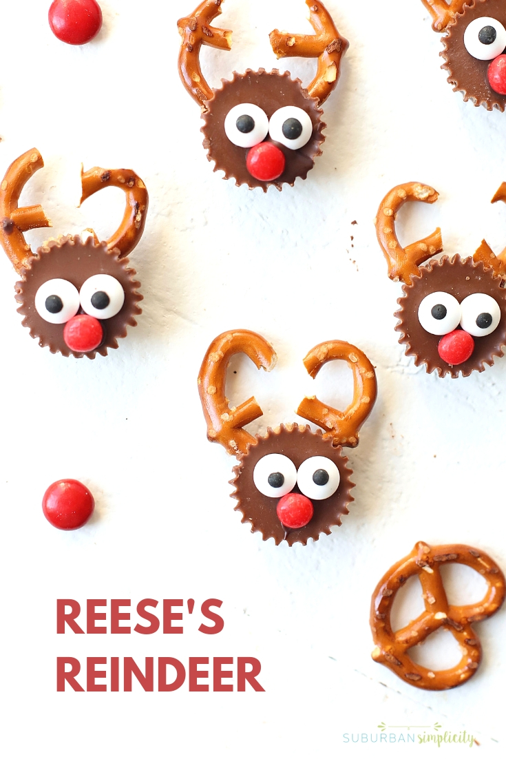 Here\'s one of the cutest holiday treats! Reese\'s Reindeer are so easy to make and have that salty sweet combo everyone loves!