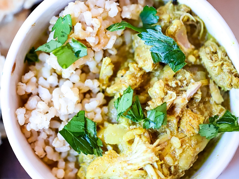 Close up of Crock Pot Chicken Curry