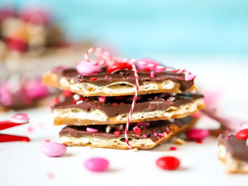 Valentine's Day saltine toffee candy stacked up
