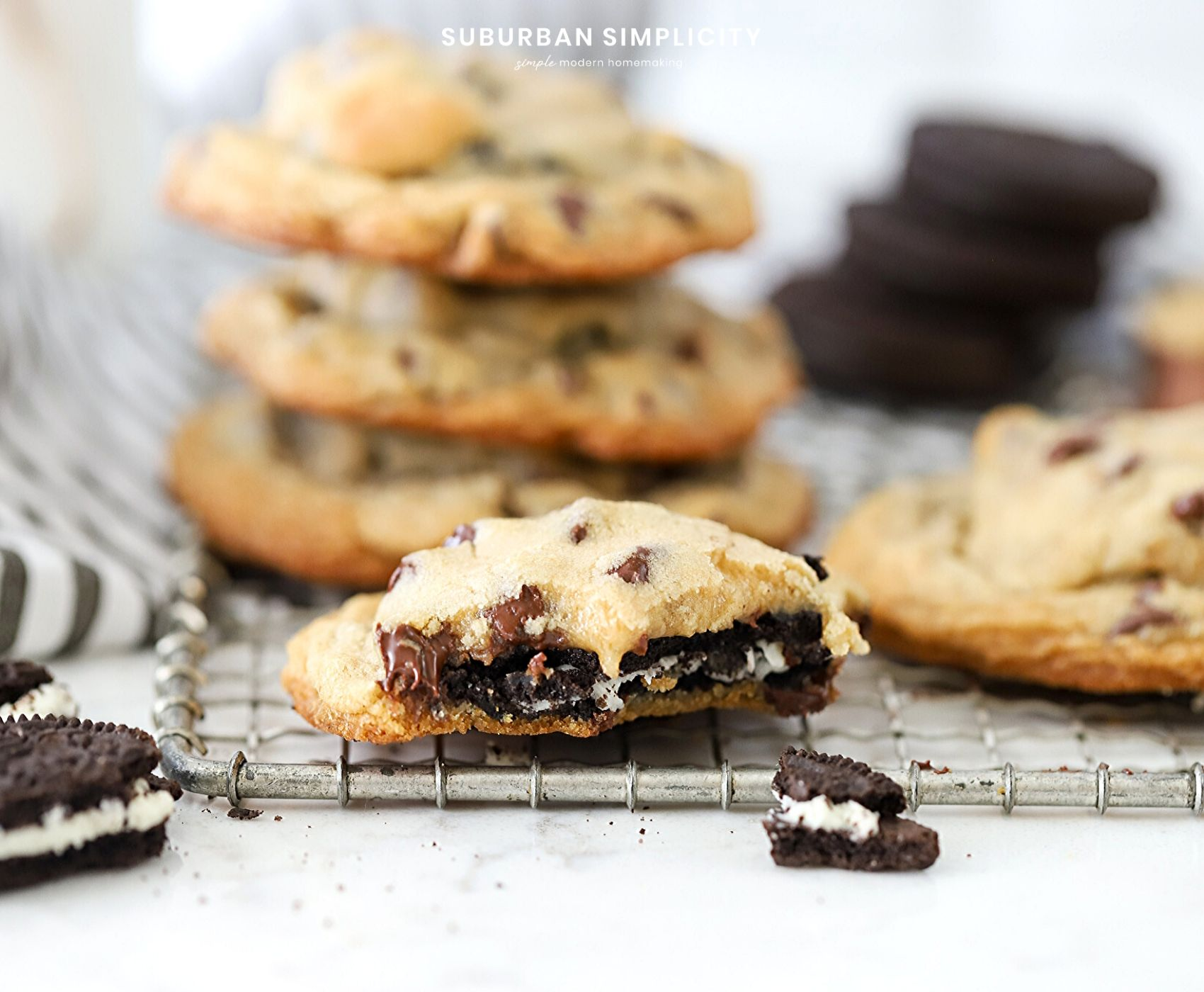 Love Oreos? Then you HAVE to try this Oreo Stuffed Chocolate Chip Cookies recipe. Delicious homemade chocolate chip cookies with an Oreo cookie nestled inside! Best Cookie Ever!