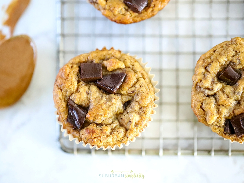 Banana Almond Butter Muffins with chocolate chunks.