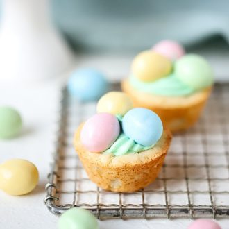 Easter Cookie Cups filled with frosting.
