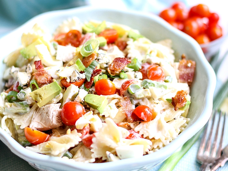 Tossed Cobb Pasta Salad in a bowl.