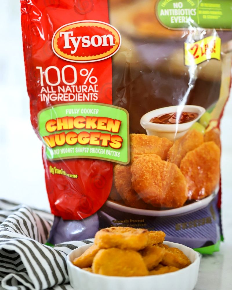 Tyson Chicken nuggets on a plate.