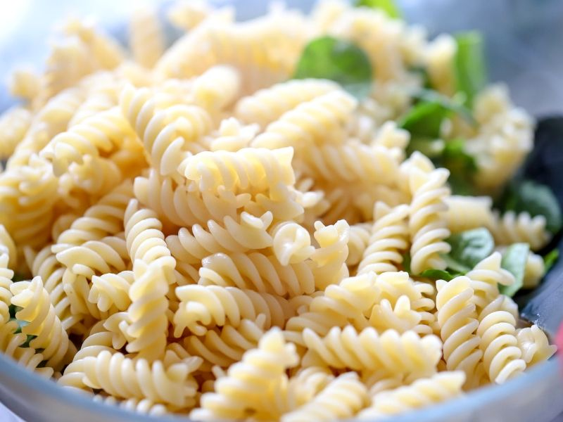 Cooked Fusilli Pasta in a bowl