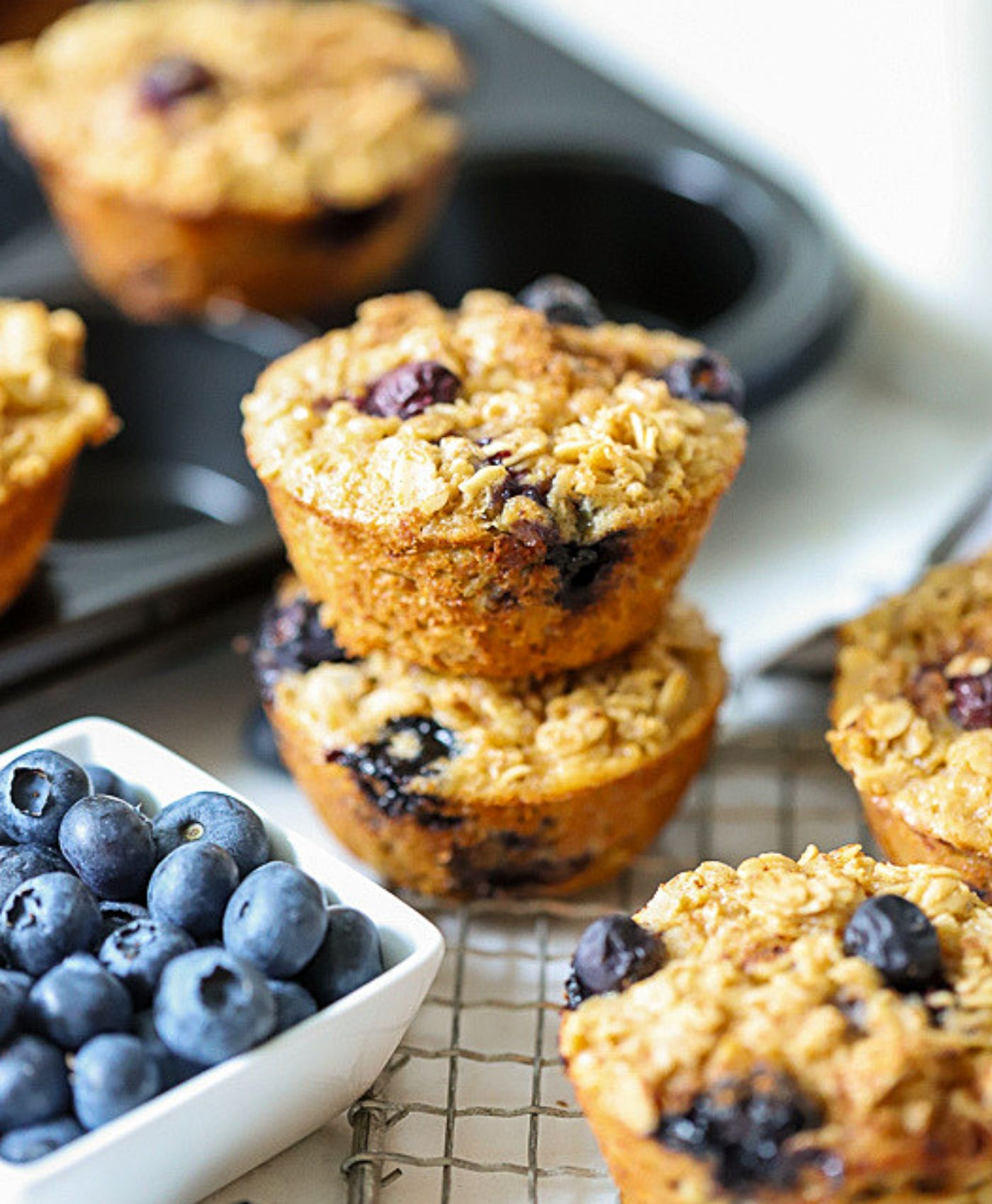 Stacked baked oatmeal cups