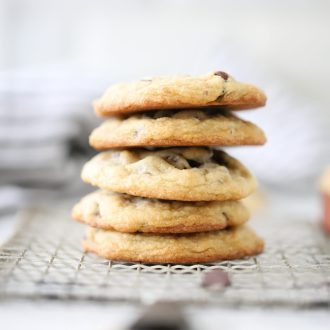 5 Chocolate Chip Cookies stacked together