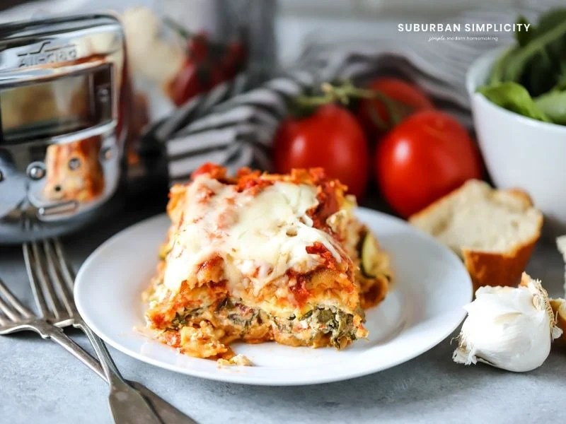 slow cooker lasagna on a plate
