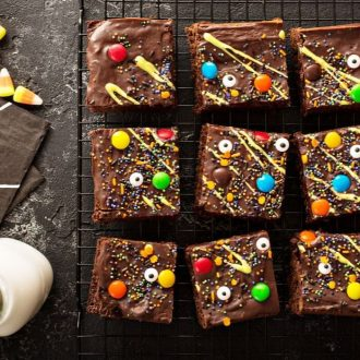 Brownies with leftover Halloween Candy