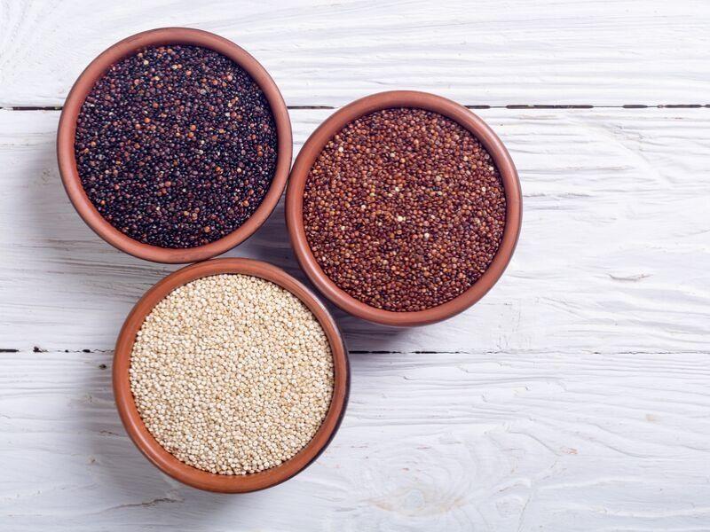 Three different types of quinoa.