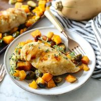 Chicken and Butternut Squash plated with a fork