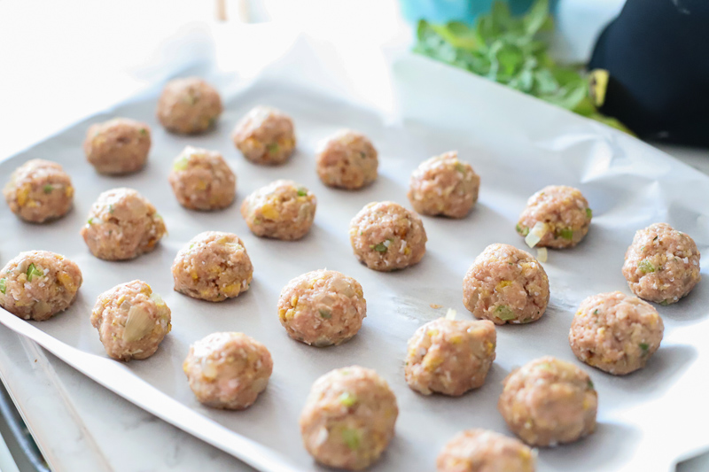 Meatballs rolled into balls